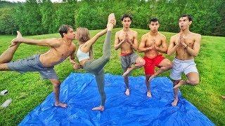 BABY OIL YOGA CHALLENGE! (super funny)