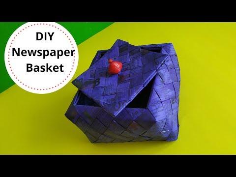How to make a newspaper basket || paper woven box || newspaper recycling || Iris Craft Corner 35