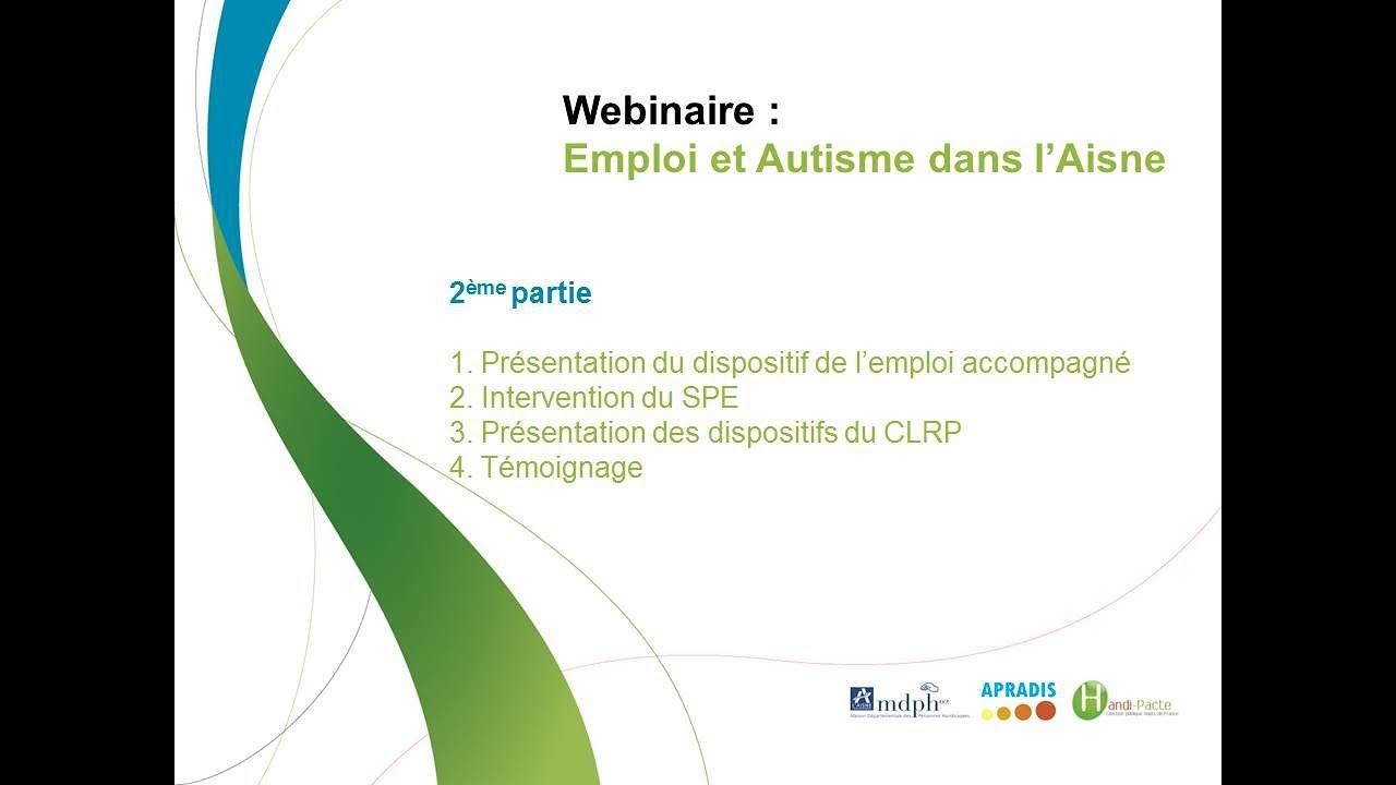 """Retour sur le webinaire """"emploi et autisme"""" dans l'Aisne du  17 novembre 2020"""