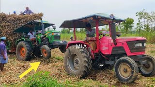 Eicher tractor stuck in mud sugarcane farming heavy load trolley rescued By Mahindra tractor | #CFV
