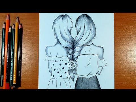 How To Draw Two Girls With Beautiful Hair Best Friends Kiz Nasil Cizilir Youtube