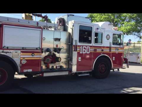 FDNY ENGINE 160 RETURNING TO QUARTERS ON CLOVER ROAD IN STATEN ISLAND, NEW YORK CITY.