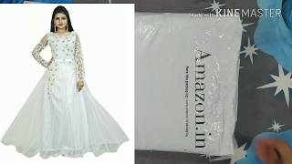 unboxing white net Anarkali Gown from amazon|silk gown dress|long goun