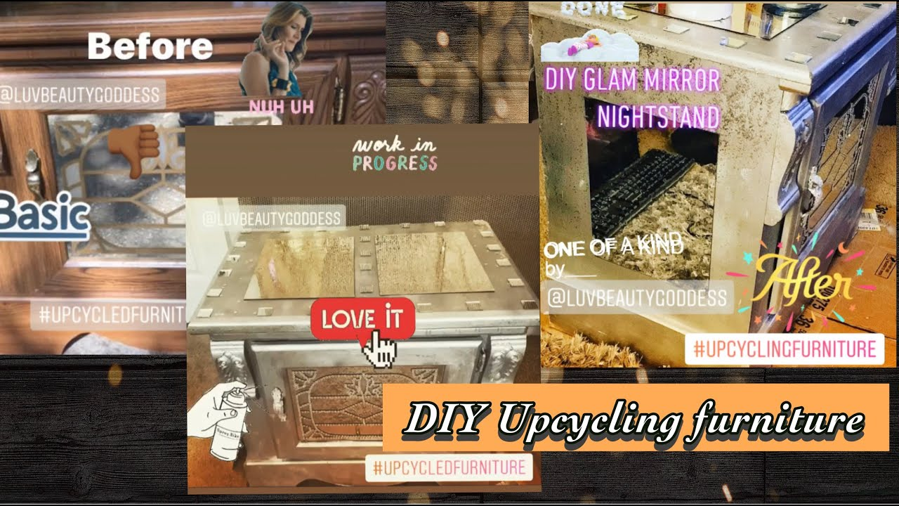 DIY Glam Mirror Nightstand (upcycled Furniture)