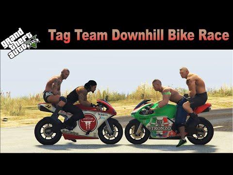 gta-v---wwe-tag-team-bike-race-series---2-|-john-cena-&-brock-lesnar-vs-roman-reigns-&-randy-orton
