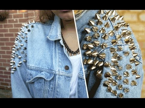 D.I.Y | Shoulder studded denim jacket - YouTube