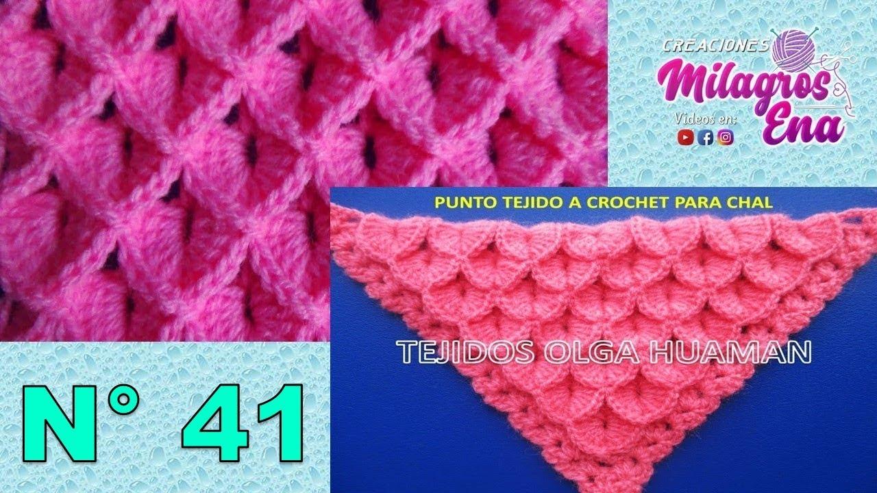 Punto cocodrilo o escamas tejido a crochet para aplicar en sueteres, chales, ponchos, mantas.