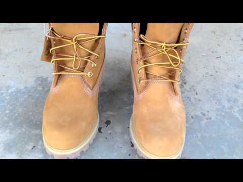 "Timberland 6"" Wheat Timbs on feet"