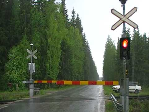 Finnish freight train T 3365 passed Vatia level crossing.