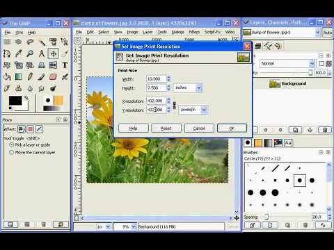 Image Resolution And Print Size In The Gimp Youtube