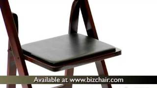 Hercules Mahogany Wood Folding Chair With Vinyl Padded Seat (xf-2903-mah-wood-gg)