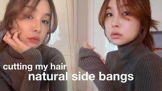 cutting my own hair, 셀프 사이드뱅 후…