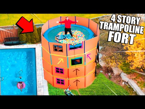 24 HOUR 4 Story TRAMPOLINE Box Fort Challenge! 50FT Tall