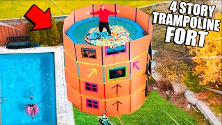 24 HOUR 4 Story TRAMPOLINE Box Fort Challenge! 50FT Tall 📦😱