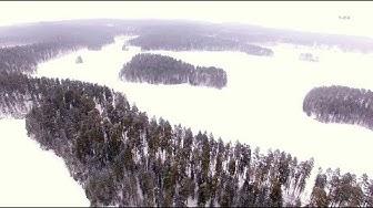 4K Winter scenery Bird`s Eye view  - Punkaharju ilmasta talvi maisema