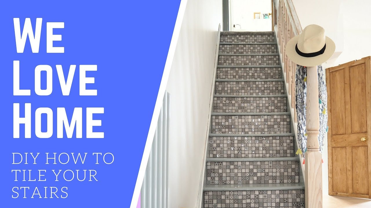 Diy How To Tile Your Stairs We Love Home Youtube   Stairs Tiles Design For Home   Outside Staircase   Stair Tread   Color   Exterior   Custom