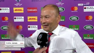England coach Eddie Jones cannot hide his delight at his players' performance | RWC 2019 Moments