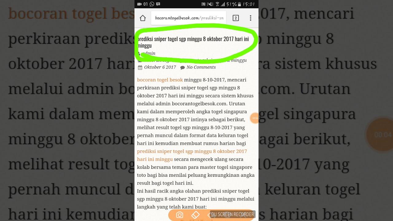 Prediksi Togel SGP Singapura Hari Ini 08 Oktober 2017 ...