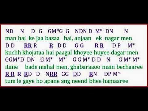 Tumhe yaad karte karte song lyrics & notations  तुम्हें याद करते करते फिल्म आम्रपाली