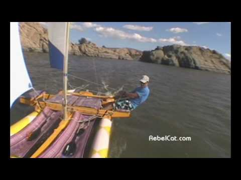 PVC Pipe Catamaran Sailboat RebelCat 5 on the MOVE! - YouTube