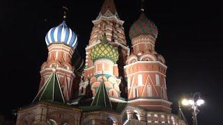 Фото Достопримечательности Москвы - Кремль ночью, храмы, вокзалы, мосты ночью, Москва-река