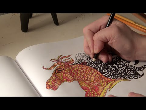 [ASMR] Coloring A Horse ^ ^ (Whispering | Pencil Sharpening)
