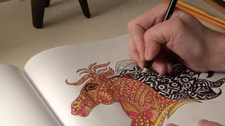 [ASMR] Coloring A Horse ^ ^ (Whispering | Pencil Sharpening)