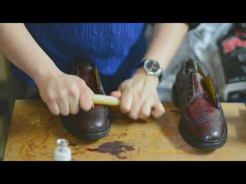 ASMR How to shine Florsheim 93605 Burgundy Color 4 Shell Cordovan Longwing Shoes