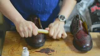 ASMR How to shine polish Florsheim 93605 Burgundy Color 4 Shell Cordovan Longwing LWBs Vintage Shoes