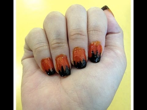 Easy halloween inspired nail design! - YouTube