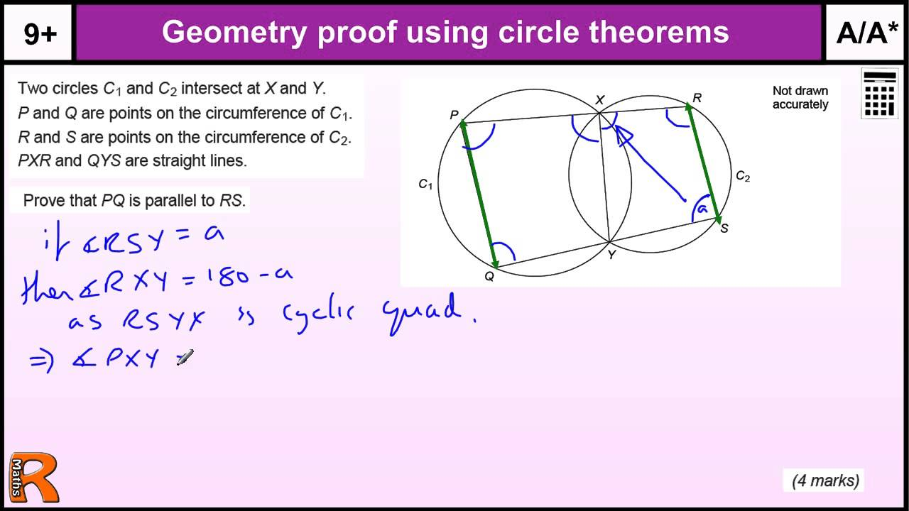 Geometry proof circle theorems, GCSE Maths revision Exam paper ...