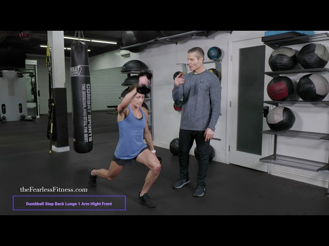 DB Step Back Lunge 1 Arm High Front