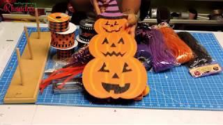 How to make a Deco Mesh- Dollar Tree- Pumpkin Door Hanger Tutorial