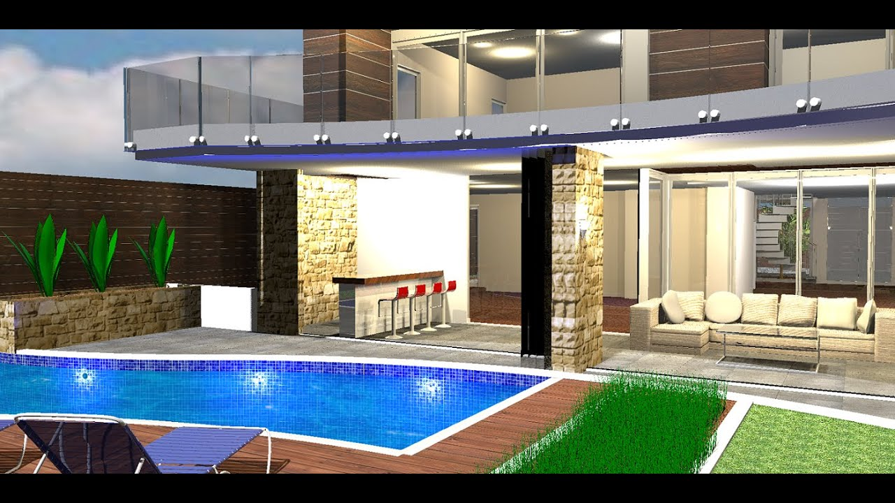 Home With Curved Pool And Bar Sweet Home 3d Youtube