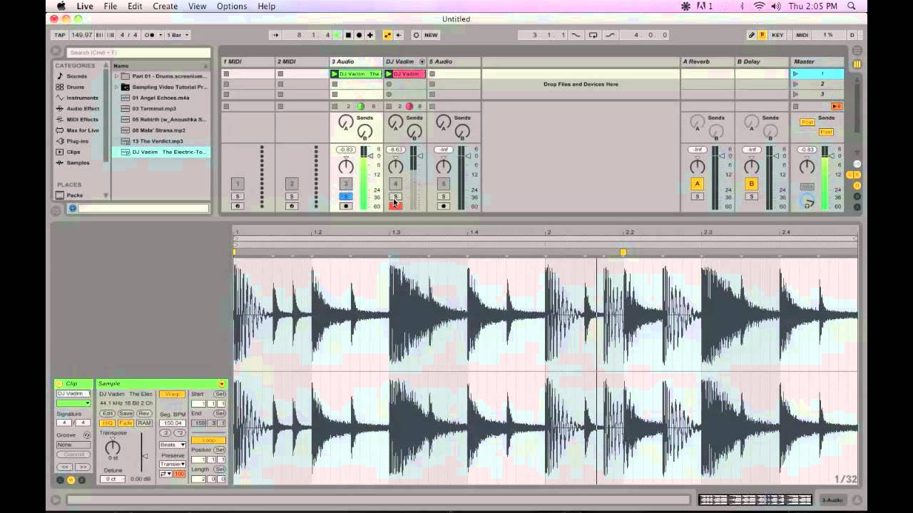 Slicing samples with beats and tones in ableton live.
