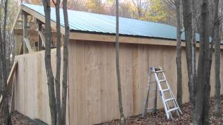 Pole Barn - framing purlins, installing board & baton siding &…