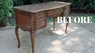 """BEFORE and AFTER"" French Provincial Vanity Makeover! - Thrift Diving"