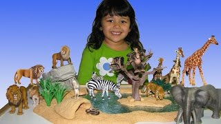 Animal Toys ZOO For Children 4 Year Old Plays With Schleich Watering Hole