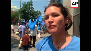 Uighur protest against Chinese policies outside embassy