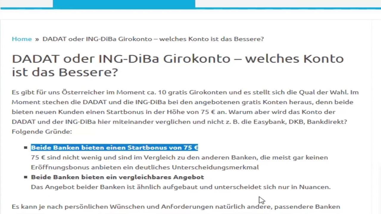 Gratis Konto In österreich Dadat Oder Ing Diba Ein Vergleich Youtube