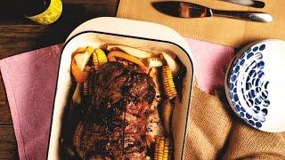 【鑄鐵鍋燒烤????】一鍋直接烤!香烤原味梅花豬肉捲 (Seasoned roast pork shoulder)