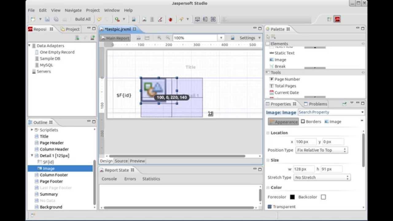 Jaspersoft Studio : Display Image (BLOB) in Report