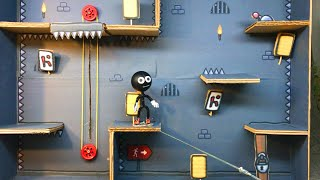 One level 3 Stickman Jailbreak. Cardboard Game. DIY