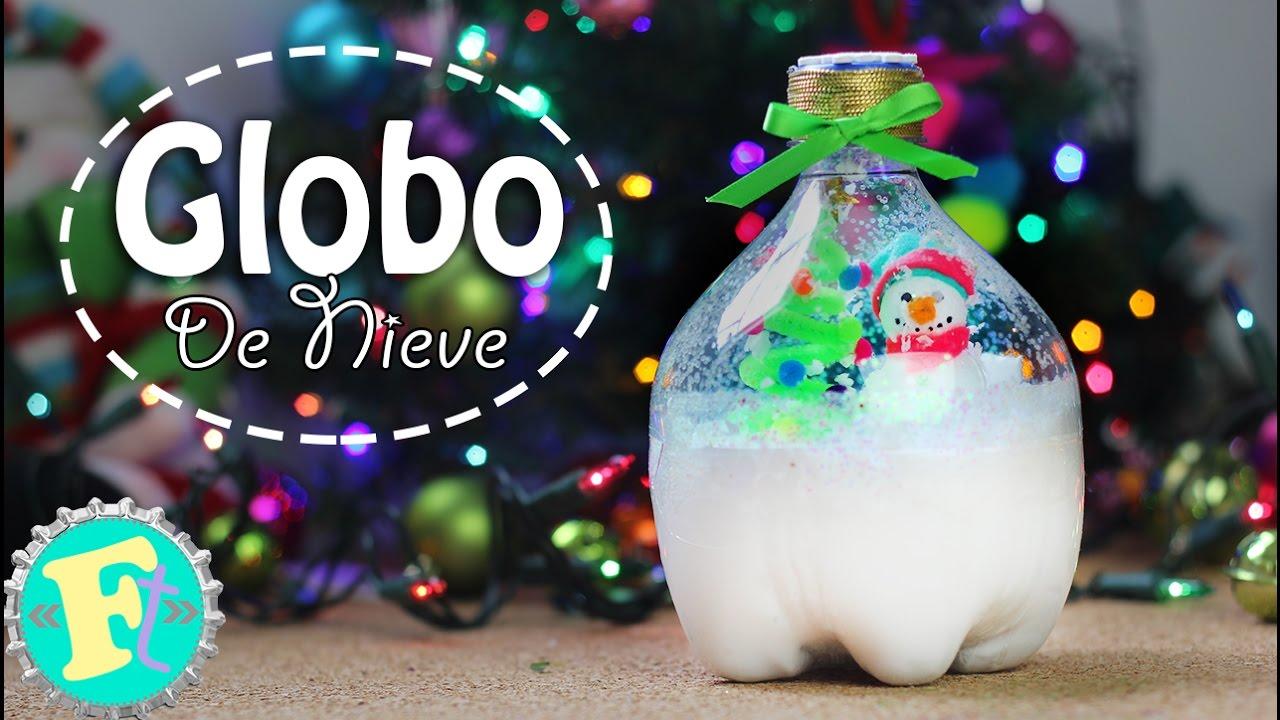 Globo de nieve con bote de refresco decoraci n navidad for Decoracion de navidad casera