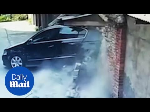 New driver smashes into three parked cars and then a wall!