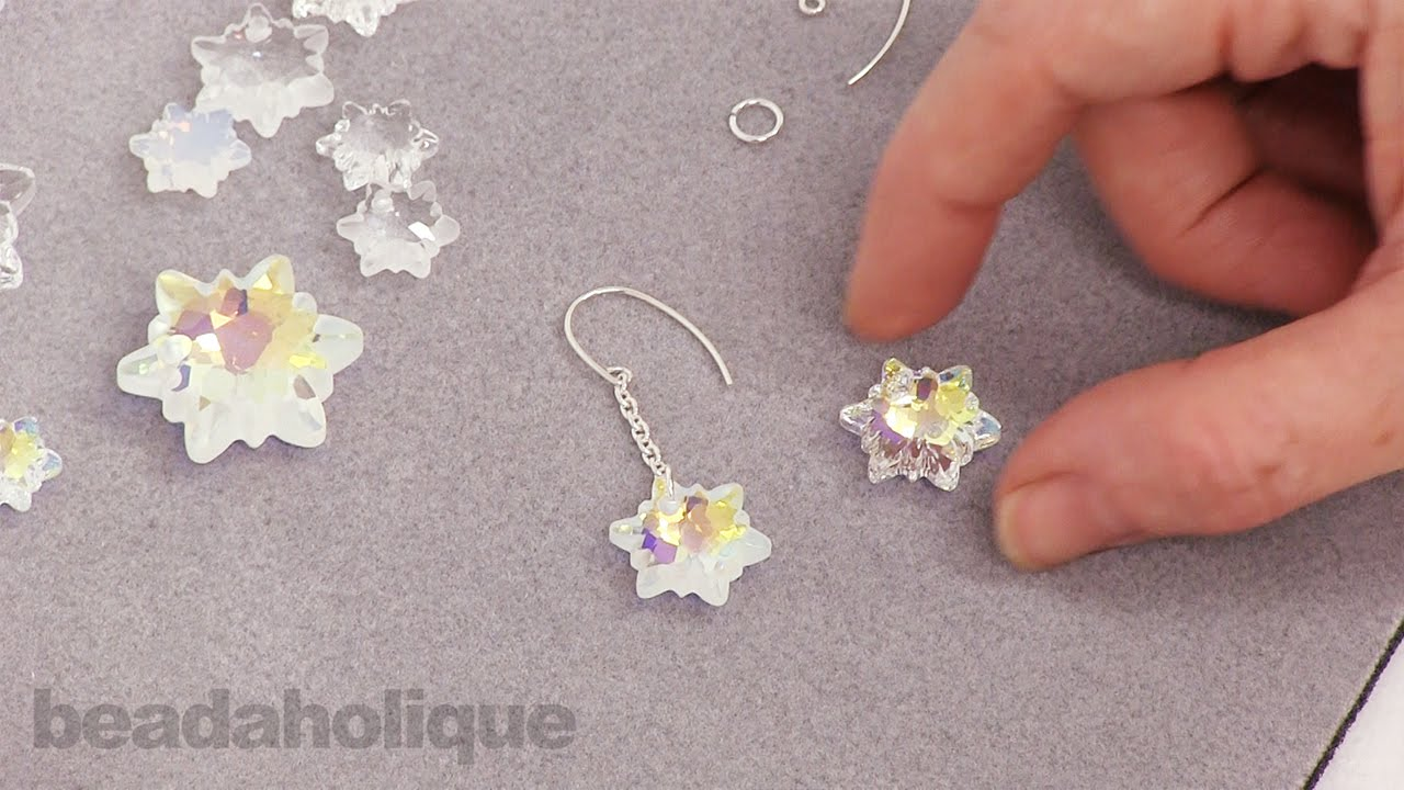 How To Make Snowflake Earrings Using Swarovski Crystal Edelweiss Pendants You