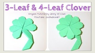 DIY 3-Leaf Clover/4-Leaf Clover Shamrock Origami Clover, Easy St. Patrick's Day Paper Crafts Kids