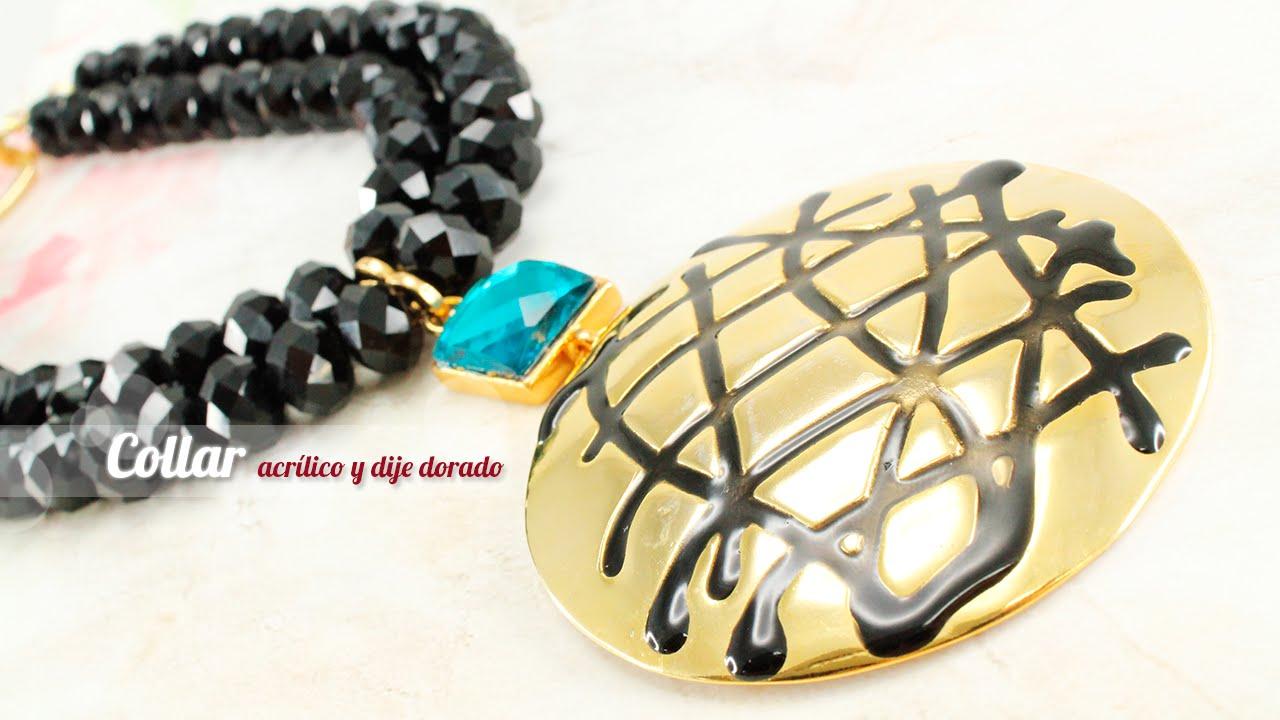 93d62dd30b3a Como Hacer Un Collar Elegante Con Rondelas de Vidrio y Un Pendiente Dorado