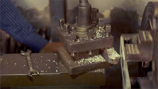Clip of a lathe machine in action - Chipping off the metal