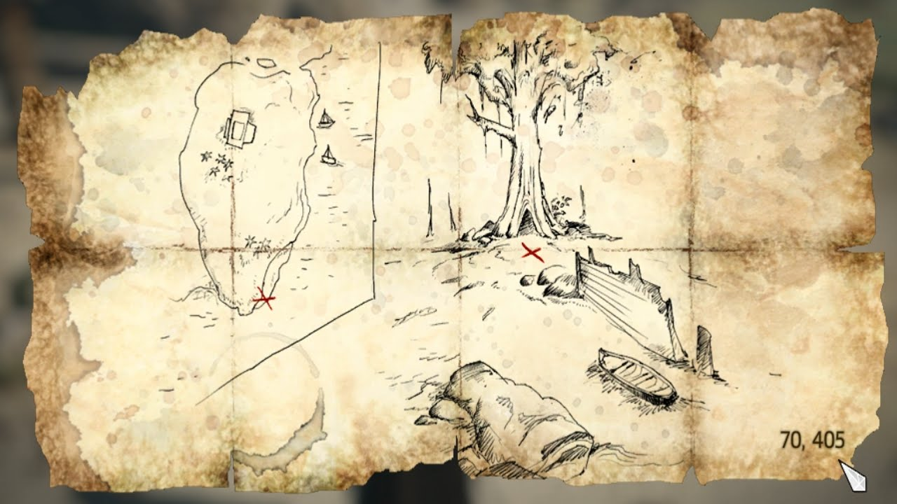 Assassins Creed Iv Black Flag Treasure Map 70 405 Youtube
